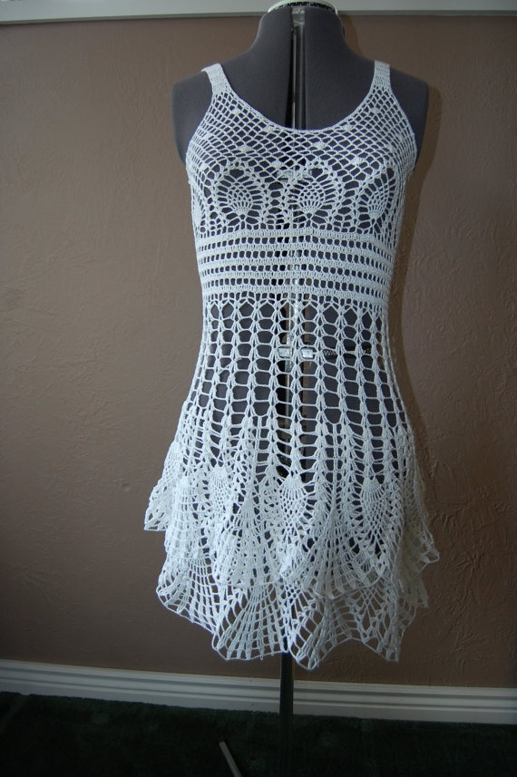 Crochet Dress with Pineapple Flounce Skirt White by ...