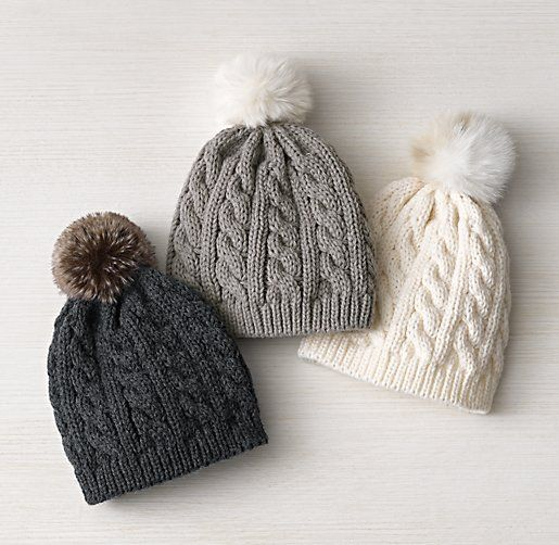 Cable Knit & Luxe Faux Fur Baby Beanie - so cute - They gotta make a youtube video on how to make this... i wonder...