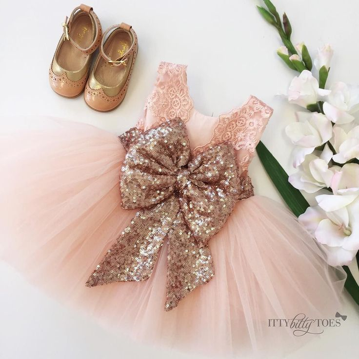 Princess Aisha Dress in Rose Gold styled with our Gjergjani G04 shoes  To order go to ittybittytoes.com (Search Aisha)