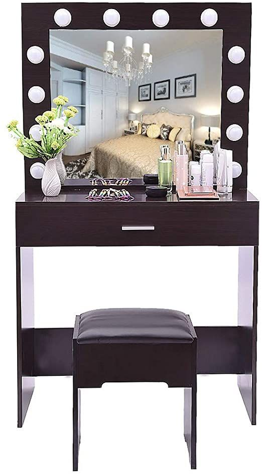 Lighted Mirror Vanity Makeup, Vanity Table Set With Lighted Mirror Stool