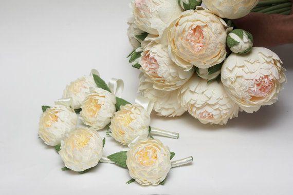 peony boutonniere wedding flower wedding peony by FlowerDecoration