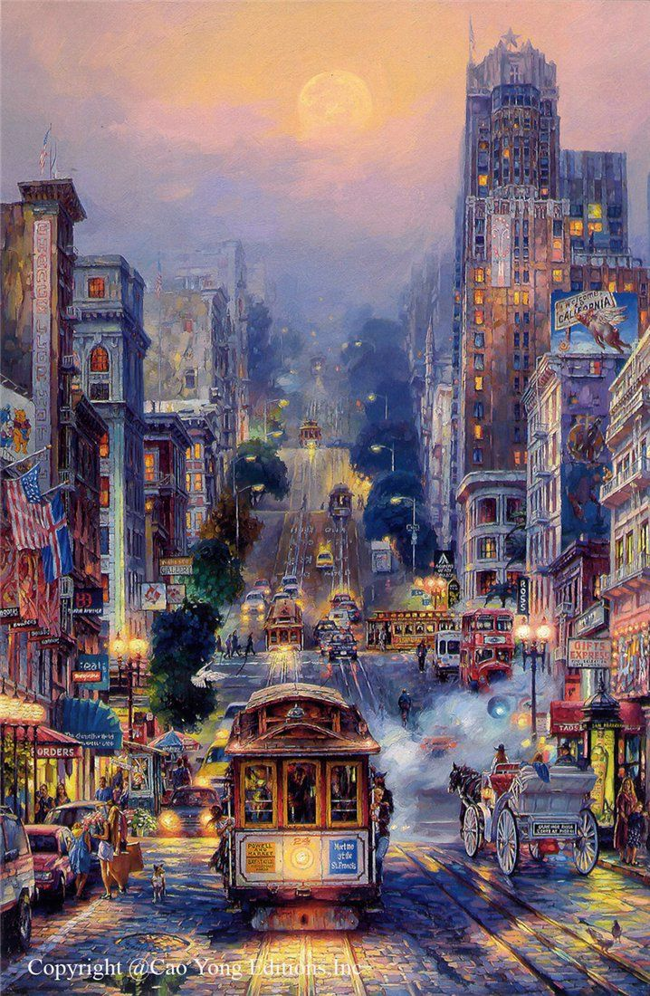 Powell Street by Cao Yong Golden Coast series San Francisco cable car, This wouldn't be my usual painting I would like, but it is beautiful...