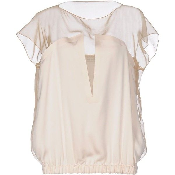 Vionnet Blouse ($545) ❤ liked on Polyvore featuring tops, blouses, beige, short sleeve tops, vionnet tops, short sleeve blouse, pink blouse and short-sleeve blouse