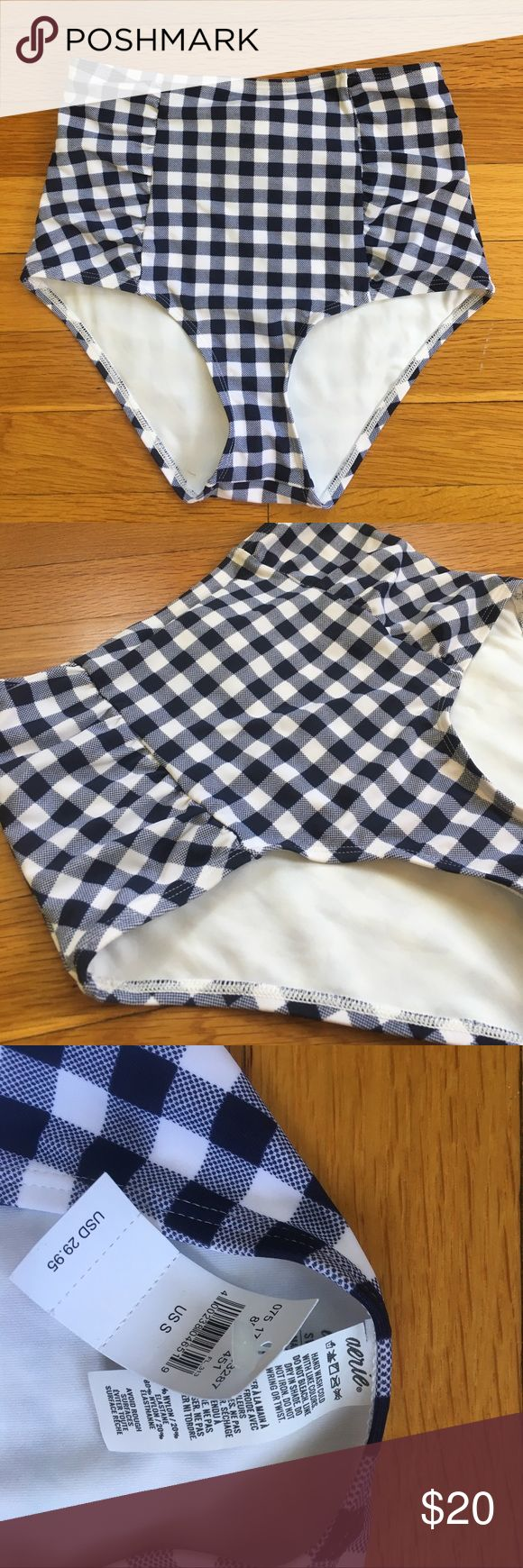 Aerie High-Rise Swim Bottoms New with tags navy blue and white gingham check pattern bikini bottoms. Vintage high-waisted cut and flattering ruched sides. Excellent condition. aerie Swim Bikinis