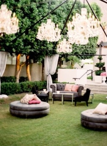 Outdoor lounge with chandeliers, inspiration for birthday party, Mobella Events, www.mobellaevents.com, event planner Orlando, event planner St. Petersburg