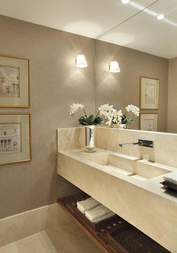 Decoração de: Lavabo; papel de parede cinza; Casa de Valentina