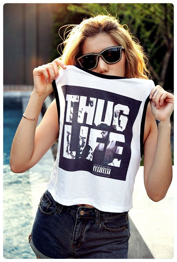 THUG LIFE TuPac Shirt Tank Top Women Summer Fashion Sexy Sideboob Show  Bikini Size S,