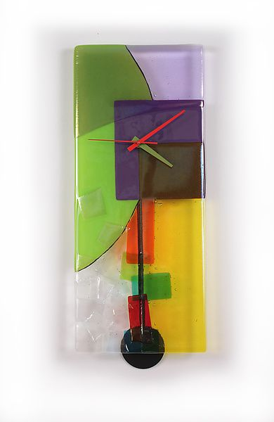 Tumbling+Colors by Nina+Cambron: Art+Glass+Clock available at www.artfulhome.com