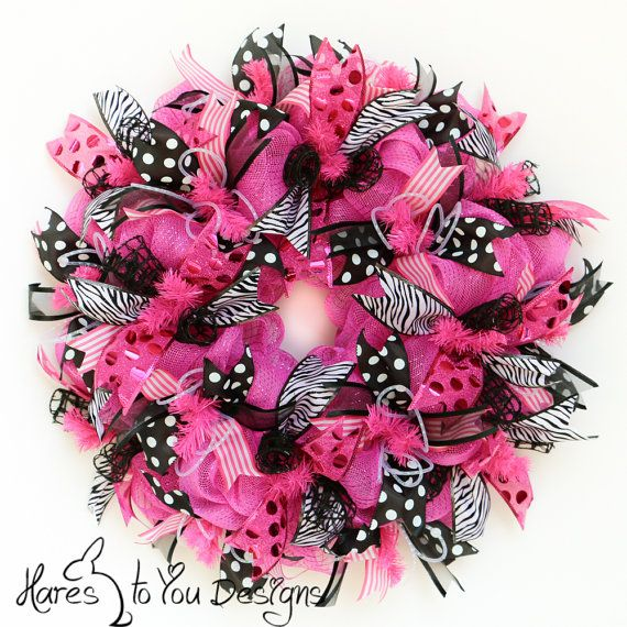 Deco Mesh Wreath Pink Door Wreath Summer by HaresToYouDesigns, $84.00