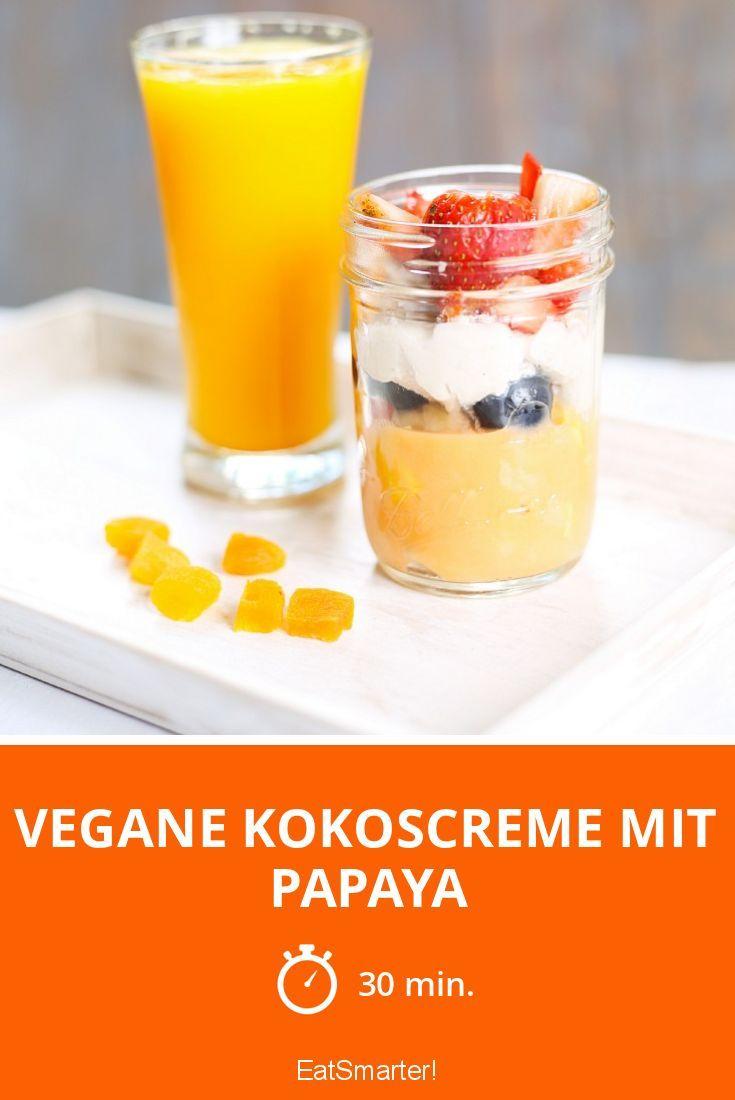 Vegane Kokoscreme mit Papaya