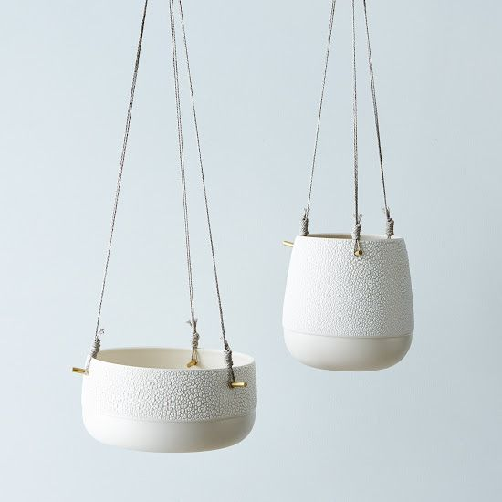 Textured Ceramic and Brass Hanging Planters /