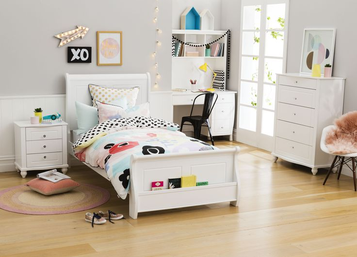Sleigh Bed With Book Shelf On Bed Foot. Constructed From Hardwood And MDF,  Available In White Only. Available In Single And King Single.