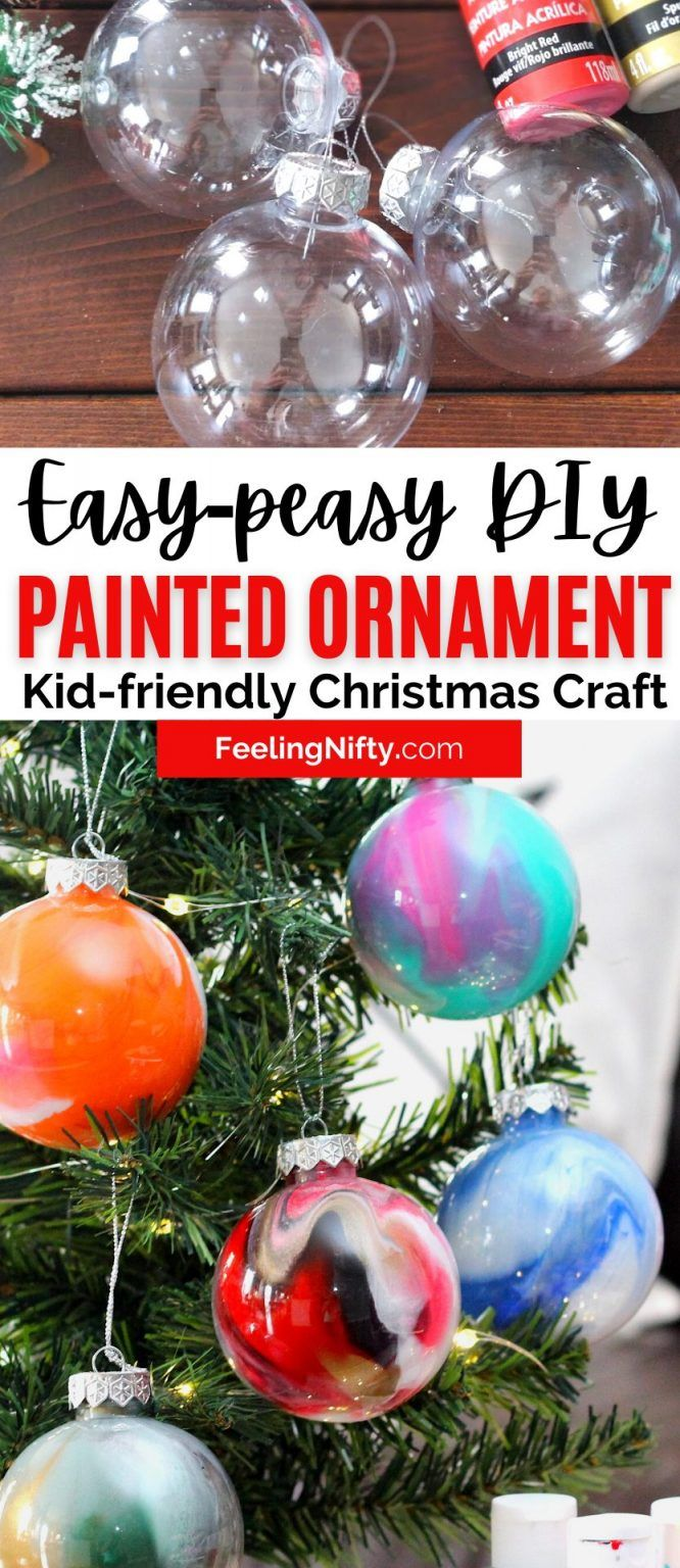 Diy Ornament Balls Paint Swirl 2 Ways Dollar Tree Craft Christmas Ball Ornaments Diy Cheap Christmas Crafts Ornaments Diy Kids