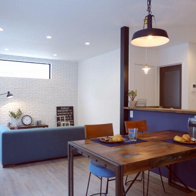 otoanneさんの、部屋全体,照明,ダイニングテーブル,カフェ風,ブリックタイル,無垢の床,無垢材,ブルックリンスタイル,トライベッカ,のお部屋写真