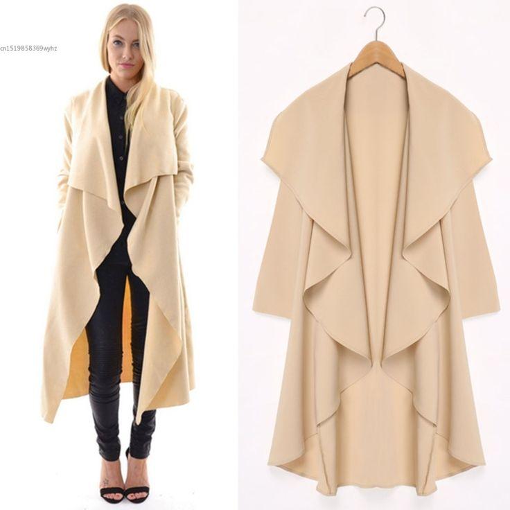>> Click to Buy << Women Fashion Loose Lapel Long Sleeve Open Front Draped Long Coat Windbreaker #Affiliate