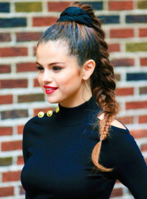 Selena Gomez | High Slick Plaited Pony With Black Scrunchie