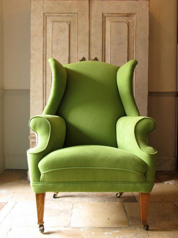 I Like The Exaggerated Lines Of This Apple Green Wingback Chair.