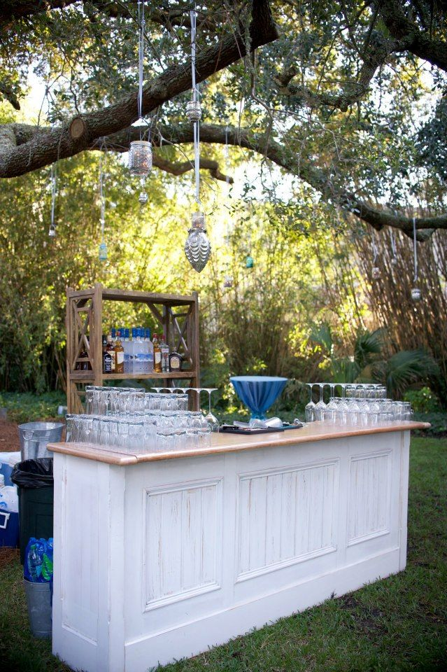 Pictured: Plantation Bar & Wood Lattice Etagere…