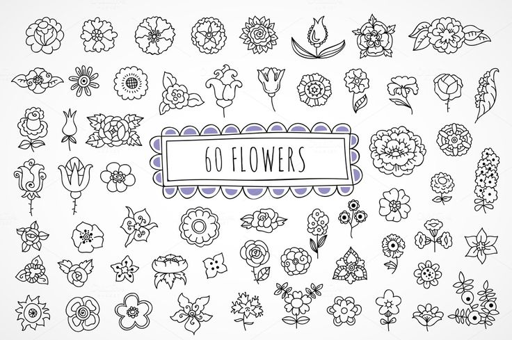 60 hand drawn flowers by redchocolate on Creative Market