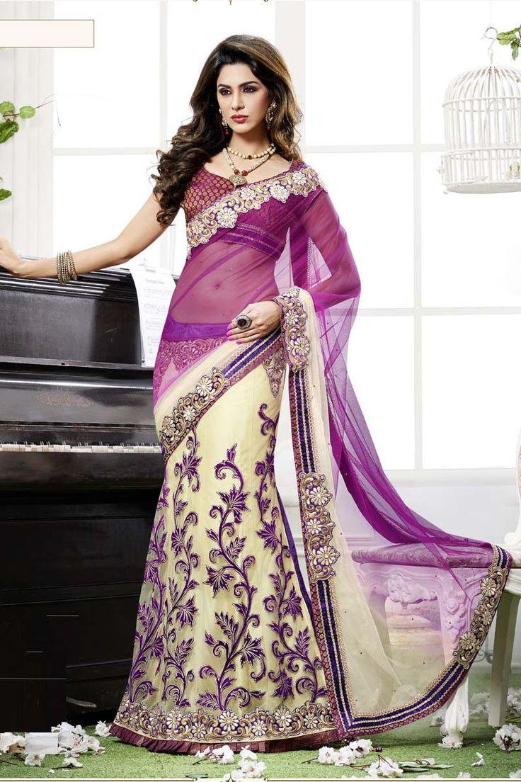 Purple Net Lehenga Saree