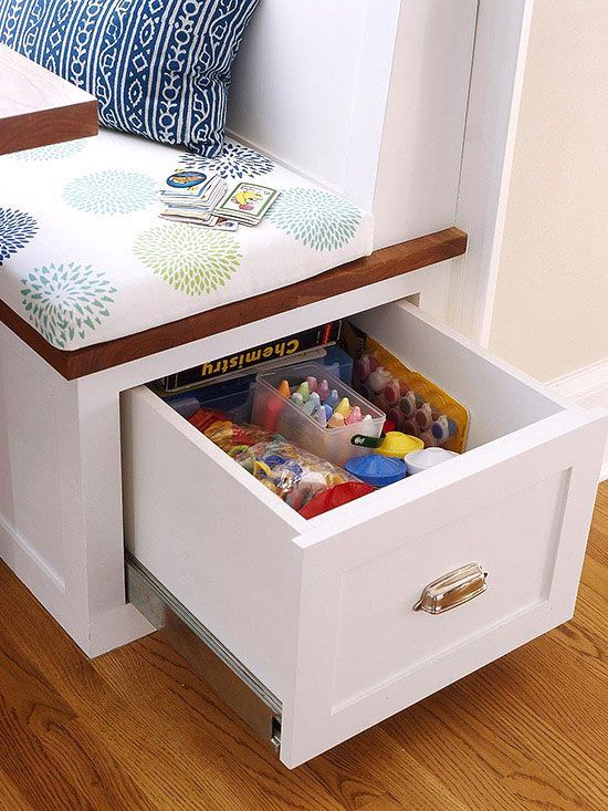 Need a solution to keep the dinner table clear? A deep drawer pulls out from a seating area to reveal art and craft supplies. These items are perfect to keep kids busy until dinner is ready! http://www.bhg.com/kitchen/storage/organization/storage-packed-cabinets-drawers/?socsrc=bhgpin010315hiddencraftsupplies&page=1: