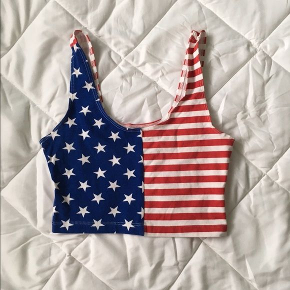 American Apparel American flag crop top Great condition! Only worn twice. Size medium but could fit a small American Apparel Tops Crop Tops