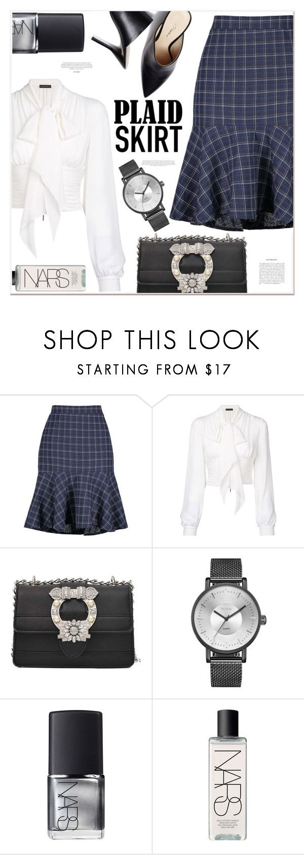 """""""plaid skirts"""" by mycherryblossom ❤ liked on Polyvore featuring Plein Sud and NARS Cosmetics"""