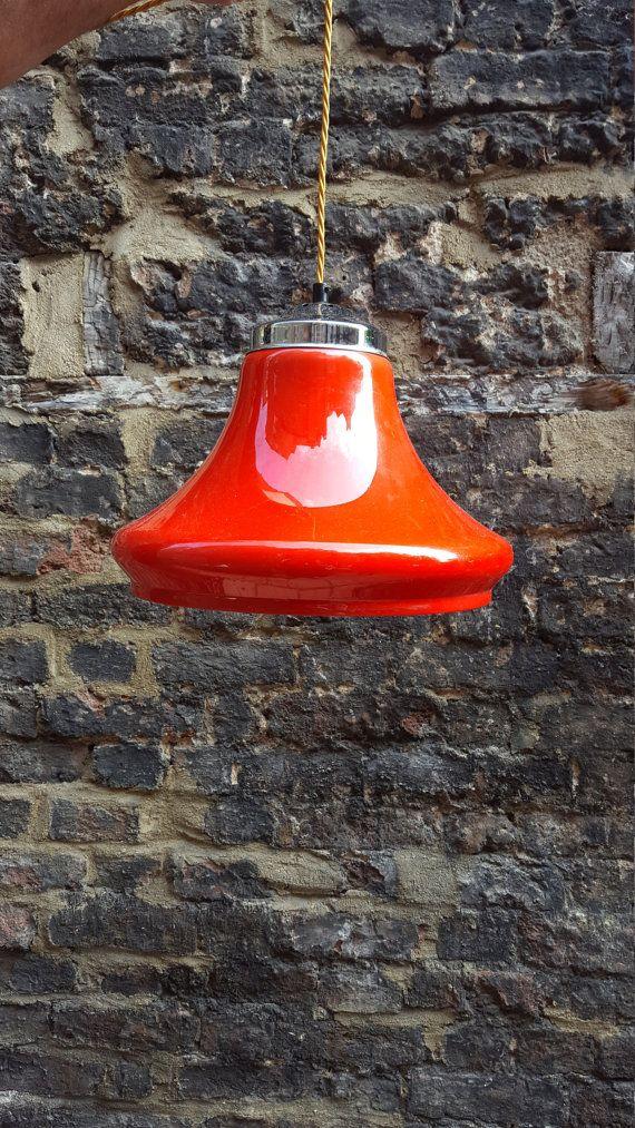 Classico del 1970 retrò scandinavo rosso lampada a di SW2Vintage