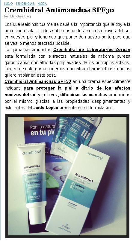 "Blog: ""Paper blog"". Producto: Cremhidral Anti manchas."