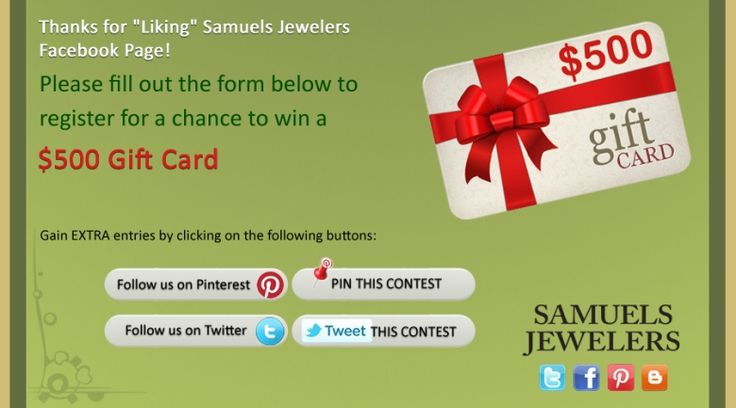 I just entered the Samuels Jewelers' 'Celebrate 2013!' Contest. Click this Pin to see how to enter to win a $500 AMEX Gift Card!