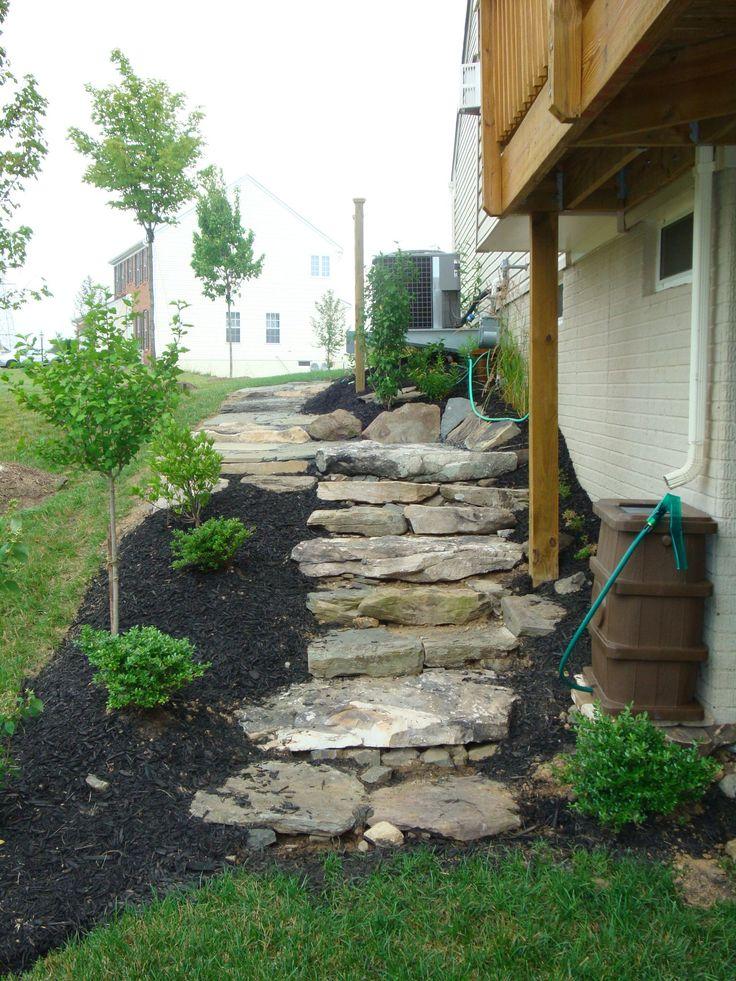 recent installation fieldstone steps garden pinterest side yard landscaping. Black Bedroom Furniture Sets. Home Design Ideas