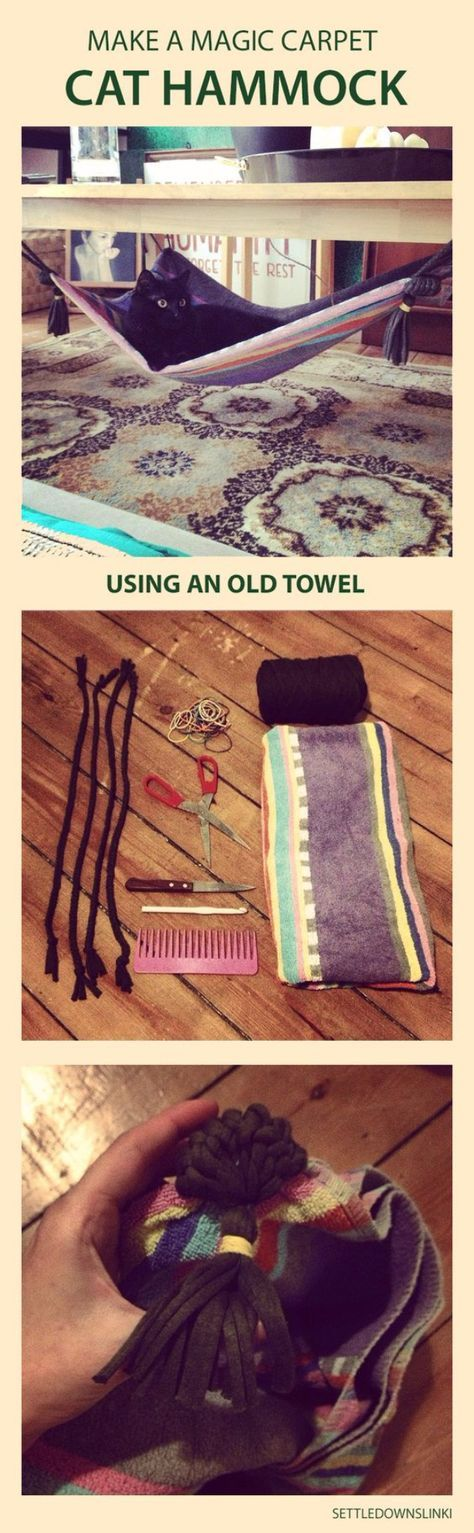 DIY Cat Hacks - DIY Magic Carpet Cat Hammock - Tips and Tricks Ideas for Cat Beds and Toys, Homemade Remedies for Fleas and Scratching - Do It Yourself Cat Treat Recips, Food and Gear for Your Pet - Cool Gifts for Cats http://diyjoy.com/diy-cat-hacks