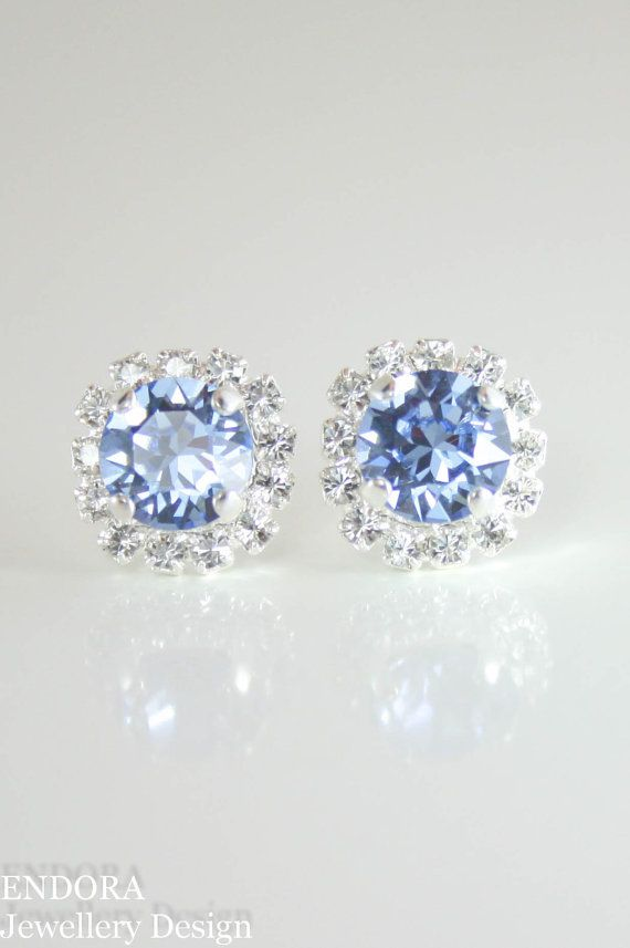 Swarovski cornflower blue crystal stud earrings | crystal stud earrings | cornflower blue wedding | light blue wedding | www.endorajewellery.etsy.com