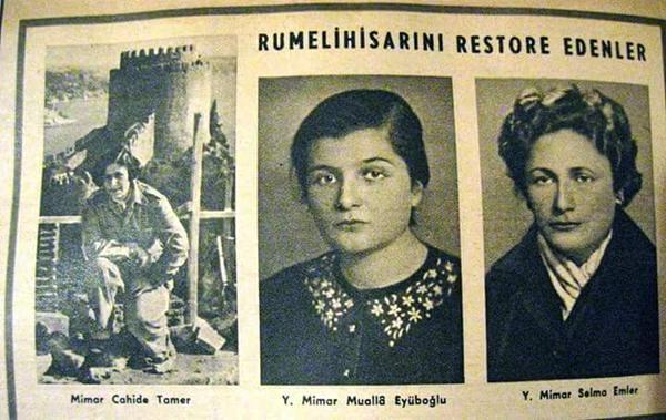 Rumeli Hisarı'nı 1953'te restore eden mimarlar: Cahide Tamer, Mualla Eyüboğlu, Selma Emler # restorasyon #istanbul #istanlook #nostalji