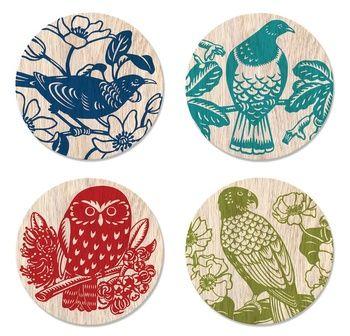Tanya Wolfkamp illustrated coasters of New Zealand birds