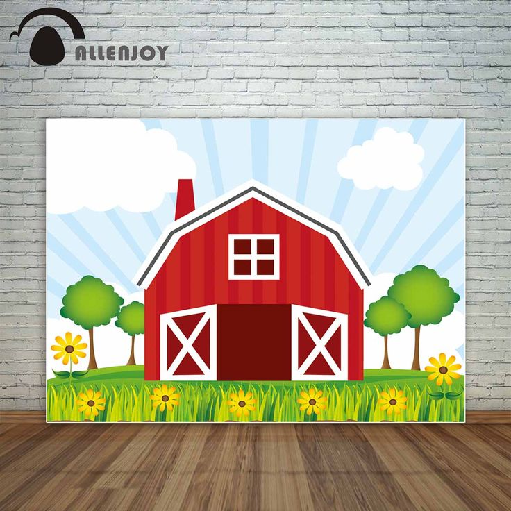 Allenjoy farm red barn yellow flowers Clear sky children backdrop backdrop decorations for home fond studio photo vinyl
