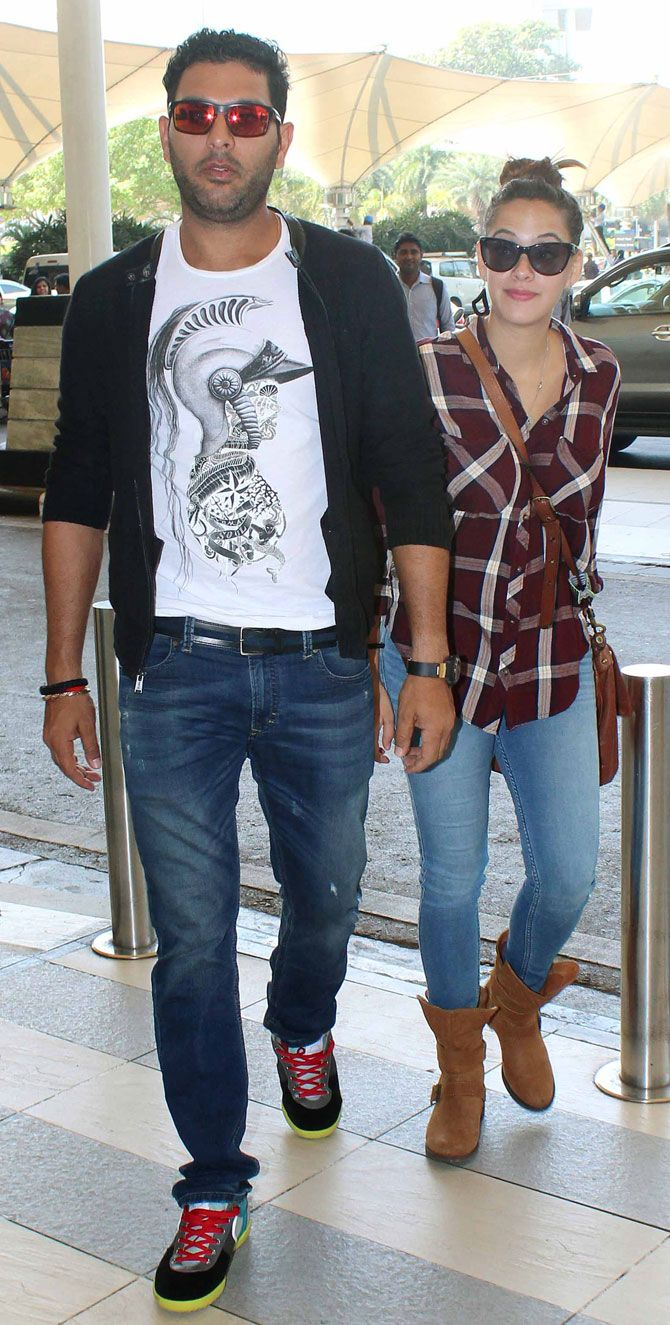 Yuvraj Singh and Hazel Keech at Mumbai airport. #Bollywood #Fashion #Style #Beauty #Hot