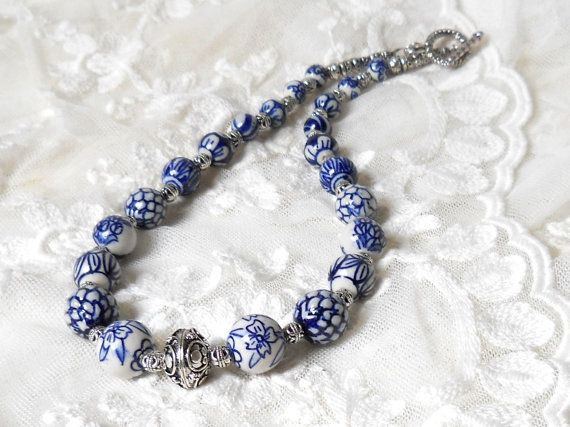 Delft blue necklace delft blue jewelry Delft Holland blue necklace  blue and white necklace delft necklace