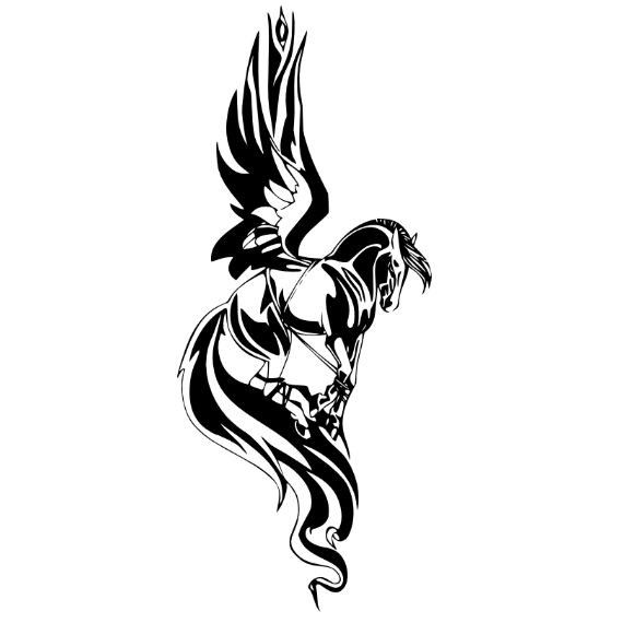 Pegasus Horse Vinyl Wall Decal Art 700 by Stickyzilla on Etsy, $19.99 would make a cool tattoo
