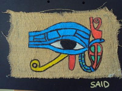 Waldorf ~ 5th grade ~ Ancient Egypt ~ Eye of Horus ~ Painted on Papyrus ~ How to make Egyptian Papyrus