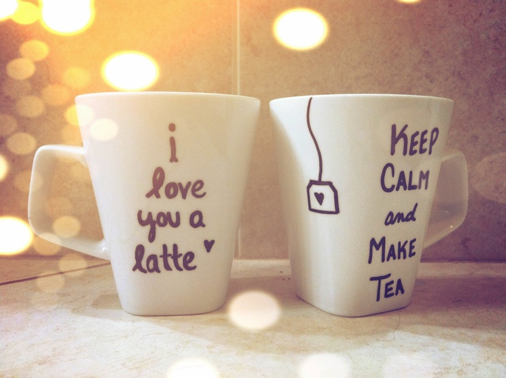DIY coffee mugs! Use a paint pen or even a sharpie, preheat oven to 350, then bake in the oven for 30 minutes. @Etsy