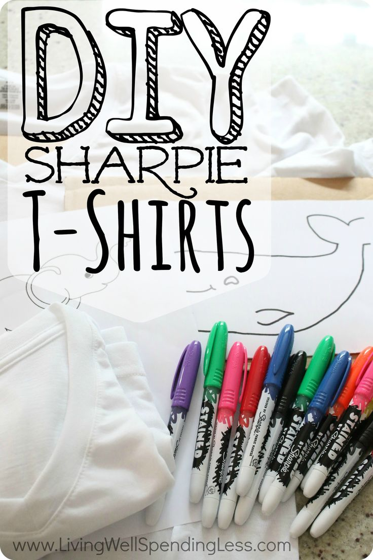 Want to let your kids express their creativity without all the mess of tie-dye?  Use markers instead to create summer t-shirts they will have a blast designing and wearing!