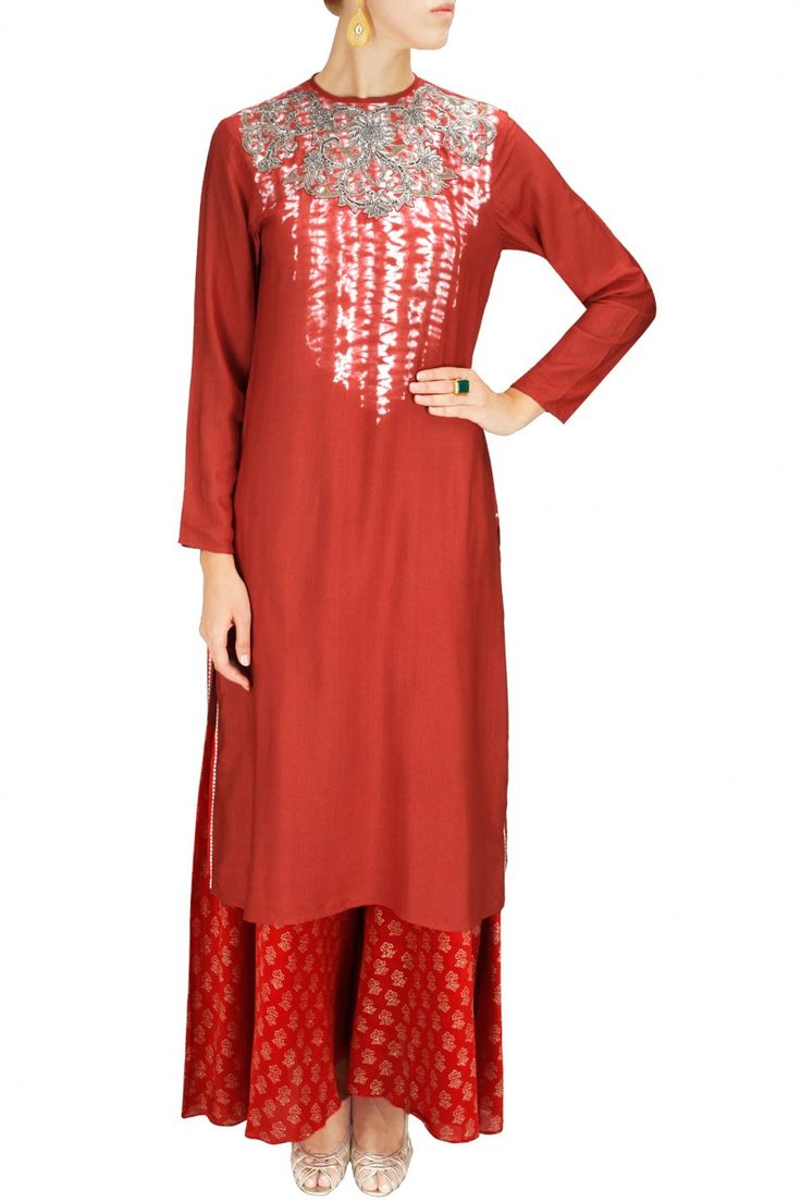 PINK PASSION - Red tie dye embroidered kurta with hand blocked print palazzos by Krishna Mehta. Shop now at www.perniaspopups... #fashion #designer #krishnamehta #shopping #couture #shopnow #perniaspopupshop #happyshopping