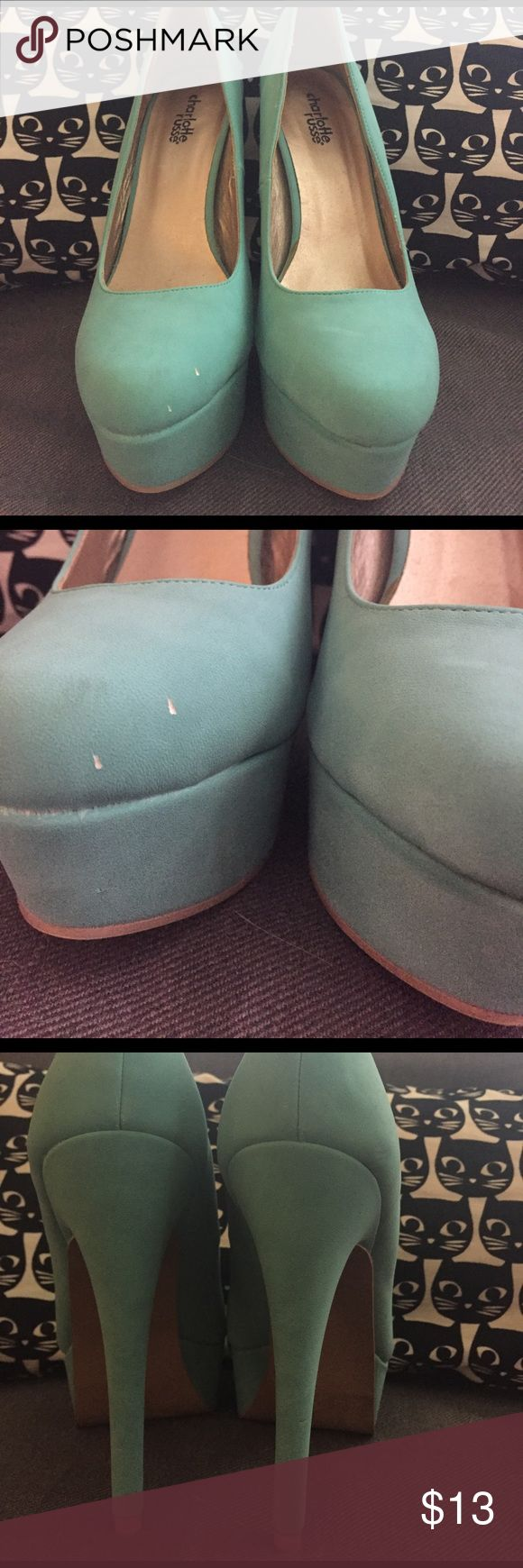 Mint pumps Never worn but got chipped on the toe. The dirt under the heels from the price sticker I tried to remove. Charlotte Russe Shoes Heels