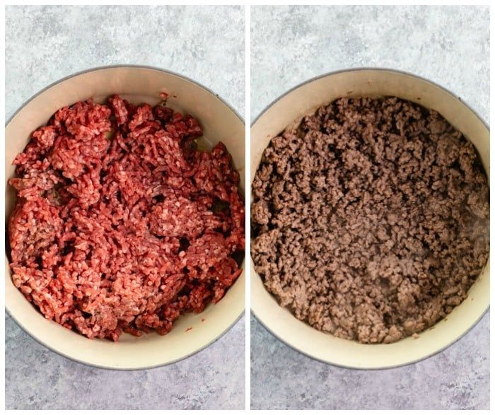 Before And After Of Ground Beef Being Cooked In Dutch Oven Beef Stroganoff Casserole Recipe Ground Beef Stroganoff Beef Stroganoff