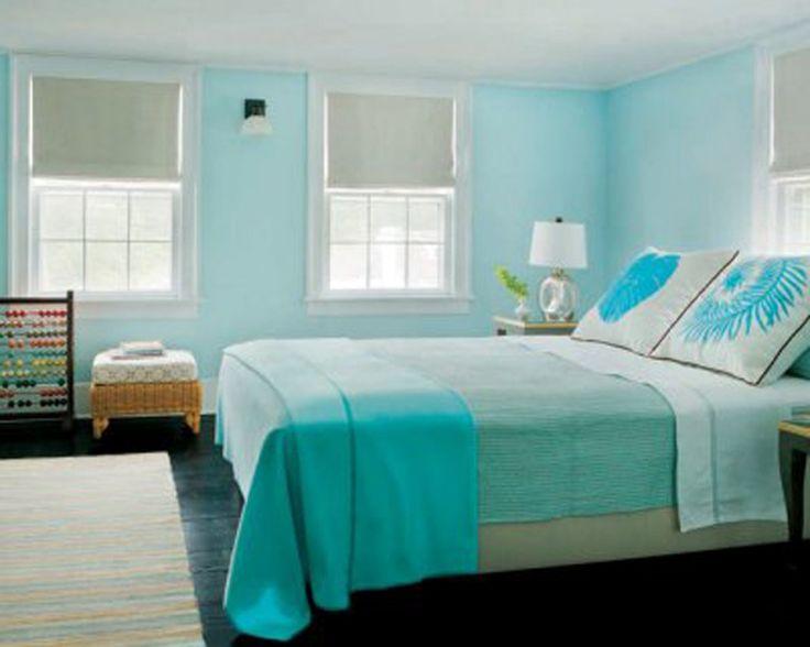 Aqua Blue And White Bedroom