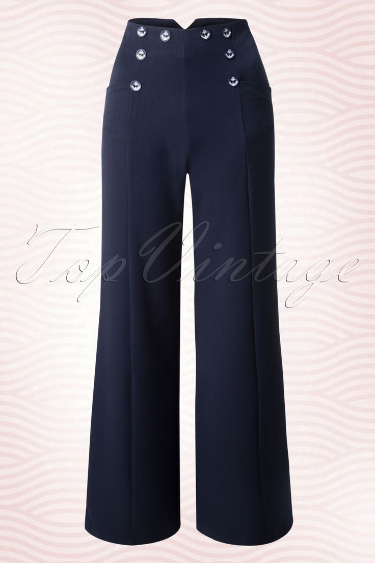 These 40s Julia Trousersare inspired on the trousers that those progressive women in the 40s / 50s wore!The high waist forms a beautiful contrast with the wide leg and is very flattering, also with fuller hips/bottom. The faux anchor buttons give it a sailor touch and finish it off perfectly. Made from a supple, light stretchy fabric in a dark blue colour for a lovely fit.We like sailors but LOVE the sailor style!   Wide legs Faux buttons at the front and back Side po...