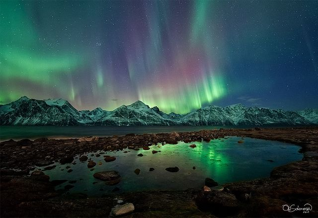 Reflected northern lights in Norway