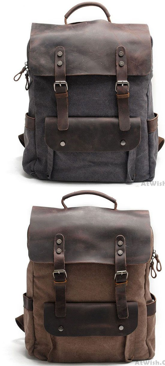 Vintage Large Laptop Thick Canvas Travel Rucksack Bag Splicing Leather  Outdoor Backpacks  backpack  Bag 8ddb81e904
