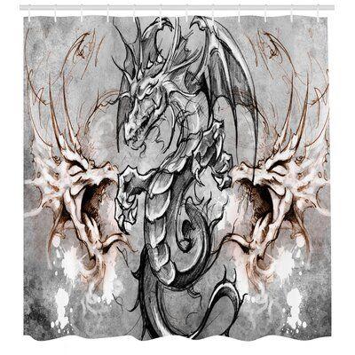East Urban Home Ambesonne Drachen Duschvorhang, beängstigende Kreatur in der Skizze Horrorszene Monster Tattoo Art Gothic Bild, Stoff Stoff Badezimmer Dekor – Products